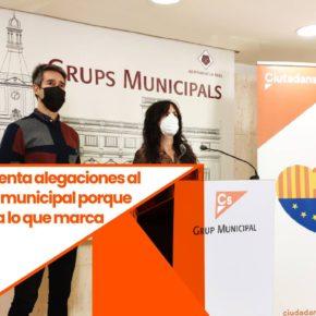 Ciutadans (Cs) Reus presenta alegaciones al presupuesto municipal porque no se ajusta a lo que marca la ley