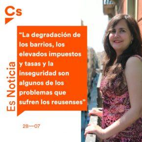 """Débora García (Cs): """"La degradación de los barrios, los elevados impuestos y tasas y la inseguridad son algunos de los problemas que sufren los reusenses"""""""