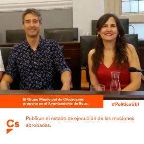 Cs Reus pide que el Ayuntamiento de Reus publique el estado de ejecución de las mociones aprobadas